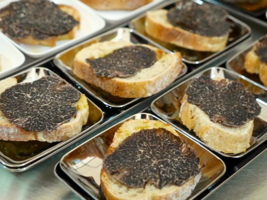 Delicious toasts with raw sliced truffle